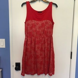 Orange lace sleeveless dress, soprano size L